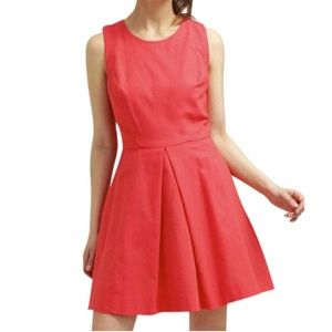 GAP Red Coral Fit & Flare Linen Casual Dress